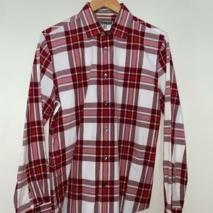 Express Red Striped Fitted Dress Shirt